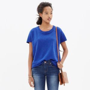 Madewell sz M Blue Cut Off Short Sleeve Sweatshirt